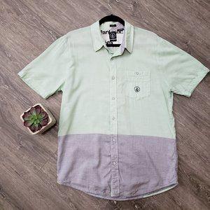 Volcom Cotton Rayon Button Down Shirt Slim Sz L